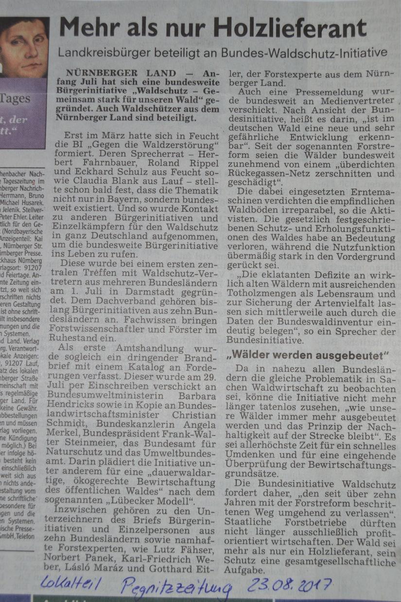 DSC_3141.JPG Pegnitzzeitung vom 23.08.2017 - Mehr als nur Holzlieferant - Laandkreisbürger beteiligt n Bundes-Waldschutz-Initiative