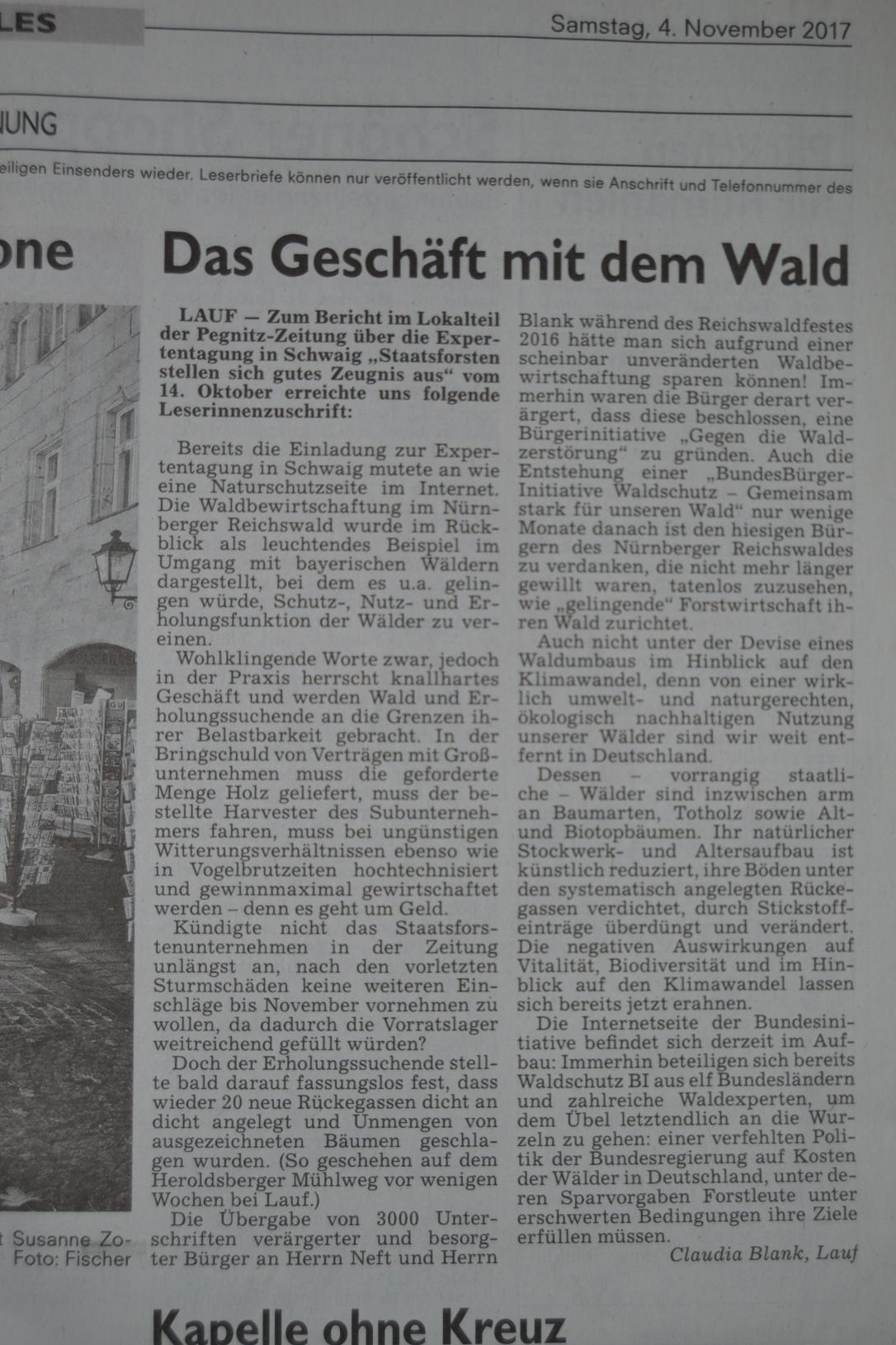 Leserbrief Claudia Blank vom 04.11.2017 in der Pegnitzzeitung